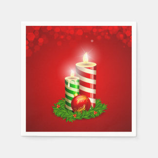 Beautiful Christmas Candles & Christmas Ball Paper Napkin