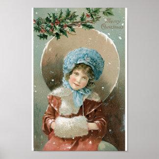 Beautiful Christmas Girl Poster