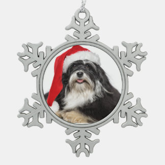 Beautiful Christmas Havanese Dog With Santa Hat Snowflake Pewter Christmas Ornament