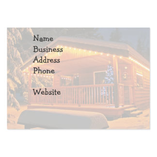 Beautiful Christmas Lights on Log Cabin in Snow Business Card Templates
