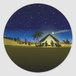 beautiful Christmas nativity image print Round Sticker