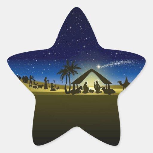 beautiful Christmas nativity image print Star Stickers