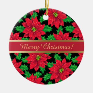 Beautiful Christmas Poinsettia on black Round Ceramic Decoration