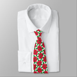 Beautiful Christmas Poinsettia pattern on white Tie