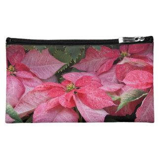 Beautiful Christmas Poinsettia Photo Makeup Bag