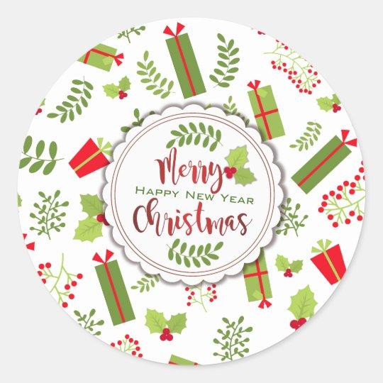 Beautiful Christmas Script Gifts Classic Round Sticker