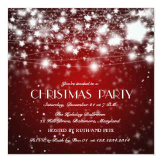 Beautiful Christmas Shining Stars Party Red 13 Cm X 13 Cm Square Invitation Card