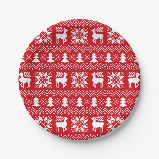 Beautiful Christmas Sweater Inspired Red Patttern Paper Plate