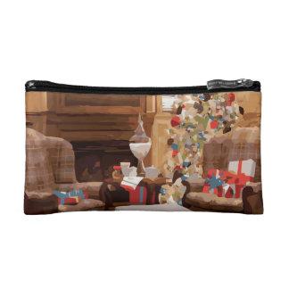 Beautiful Christmas Tree Living Room Scene Cosmetic Bag