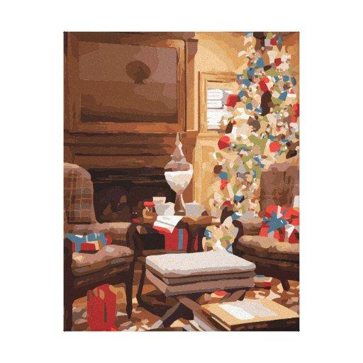 Beautiful Christmas Tree Living Room Scene Gallery Wrap Canvas