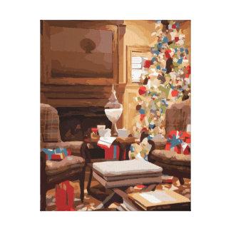 Beautiful Christmas Tree Living Room Scene Canvas Prints