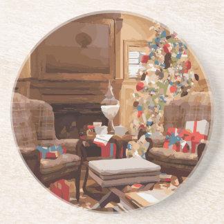 Beautiful Christmas Tree Living Room Scene Coasters