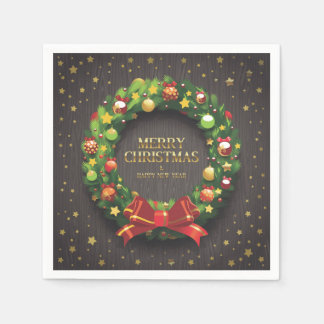 Beautiful Christmas Wreath and Red Bow Paper Disposable Napkin