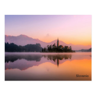 Beautiful Church on Island in Lake Bled Slovenia Postcard