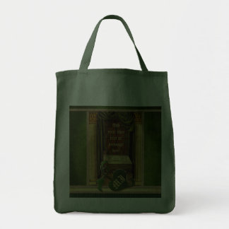Beautiful Classical Library Old Books Green Drapes Canvas Bags
