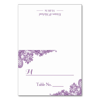 Beautiful Classy Purple Lace Wedding Seating Place Card