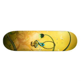 Beautiful clef hanging on a fantasy tree skate board