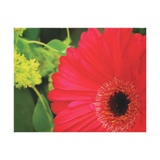 Beautiful close-up photo red flower against green canvas print