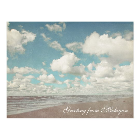 Beautiful Clouds Over Lake Michigan Beach Postcard