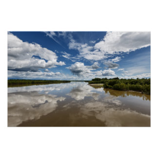 Beautiful clouds over river, reflection in water
