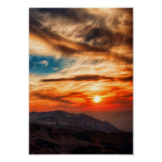 Beautiful Cloudy Sky Sunset Landscape Mountains Poster