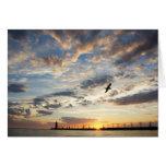 Beautiful Cloudy Sunset Over Lake Michigan Greeting Card