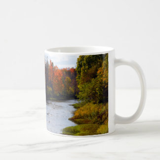 Beautiful coffee cup with the scenic Cass River