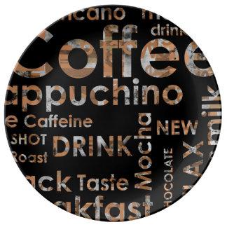 Beautiful Coffee Espresso Cappucino Kitchen Drink Porcelain Plates