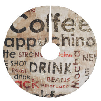 Beautiful Coffee Espresso Cappucino Pattern Brushed Polyester Tree Skirt