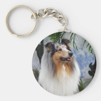 Beautiful Collie dog blue merle keychain gift