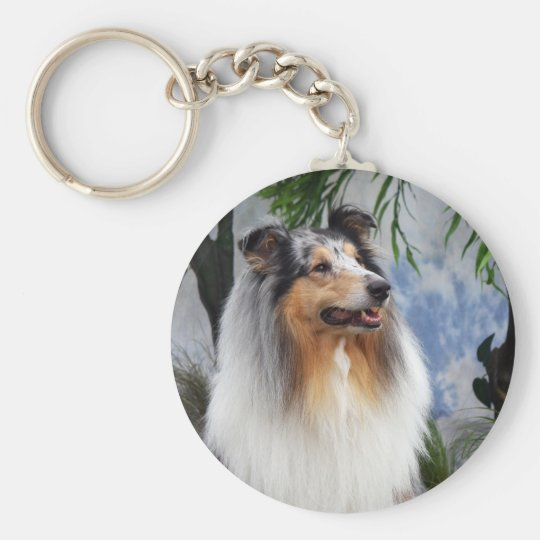 Beautiful Collie dog blue merle keychain, gift Key