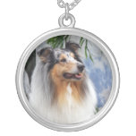 Beautiful Collie dog blue merle necklace, gift Round Pendant Necklace