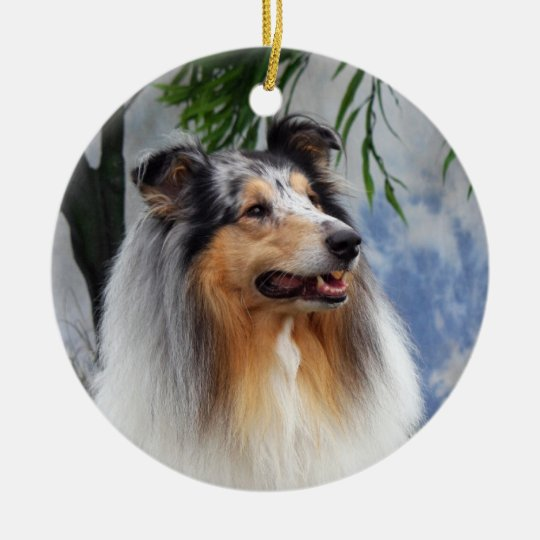 Beautiful Collie dog blue merle ornament, gift Christmas