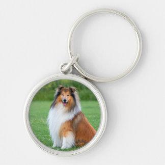 Beautiful Collie dog portrait keychain gift idea