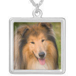 Beautiful Collie dog portrait necklace, gift idea Square Pendant Necklace