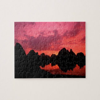 Beautiful color at sunset of limestone mountains puzzles
