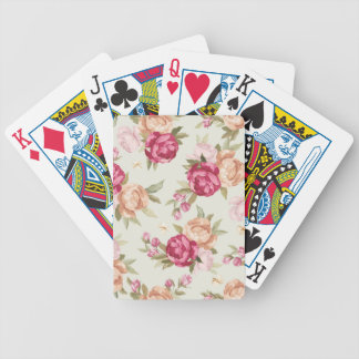Beautiful color peony pattern on green bicycle playing cards