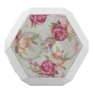 Beautiful color peony pattern on green white boombot rex bluetooth speaker