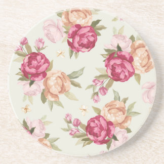 Beautiful color peony pattern on green coaster