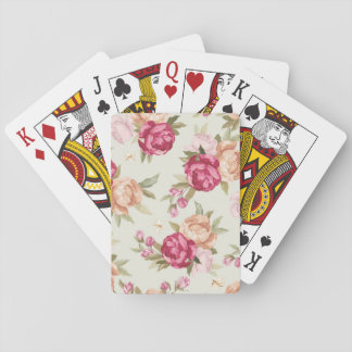 Beautiful color peony pattern on green playing cards