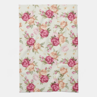 Beautiful color peony pattern on green tea towel