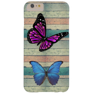 BEAUTIFUL COLORED  WOOD BUTTERFLIES iPhone / iPad Barely There iPhone 6 Plus Case