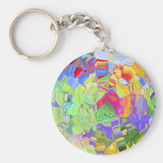 Beautiful Colorful Abstract Art Ice Cubes Gifts Basic Round Button Key Ring