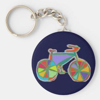 beautiful colorful art bike basic round button key ring