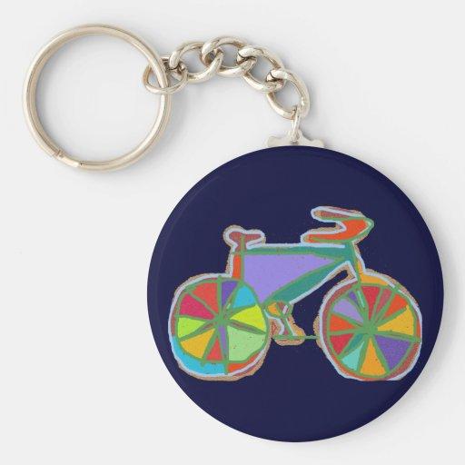 beautiful colorful art bike key chain