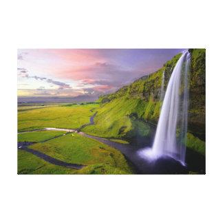 Beautiful colorful bright green waterfall wall art