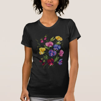 Beautiful, Colorful, Embroidered Sweet Peas T-Shirt
