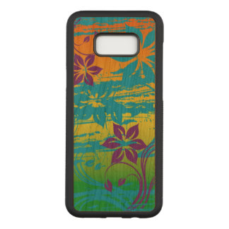 beautiful colorful  flowers swirl art abstract carved samsung galaxy s8+ case