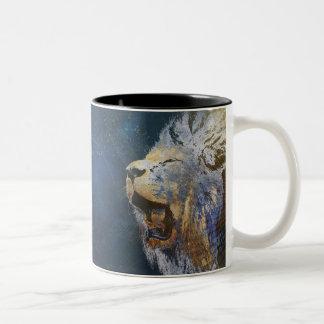 Beautiful colorful lion Two-Tone mug