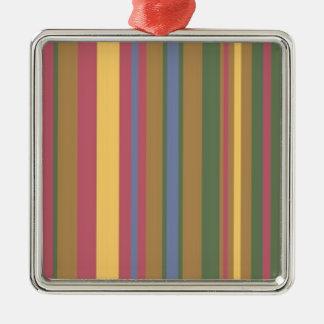beautiful coloured stripes Silver-Colored square decoration